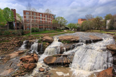 Greenville SC Reedy River Waterfalls Spring Royalty Free Stock Images