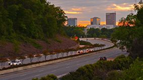 Greenville, South Carolina Highway. Greenville, South Carolina, USA downtown cityscape and interstate traffic stock footage