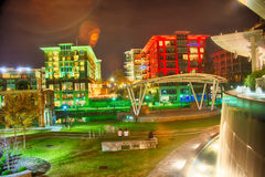 Greenville South Carolina near Falls Park River Walk at nigth. Stock Photography