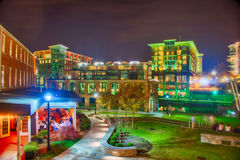 Greenville South Carolina near Falls Park River Walk at nigth. Stock Image