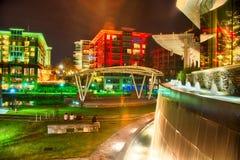 Greenville South Carolina próximo cai caminhada do rio do parque no nigth Imagem de Stock
