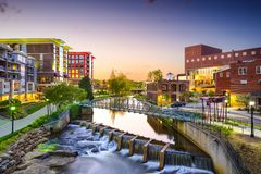Greenville, South Carolina. Town cityscape Royalty Free Stock Photo