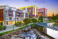 Greenville, South Carolina. Town cityscape Royalty Free Stock Images