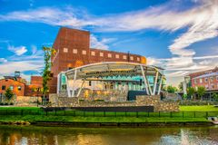 Greenville, South Carolina, United States. Downtown Greenville, South Carolina, SC along the Reedy River royalty free stock image