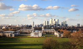 Greenwich and Canary Wharf panoramic view Royalty Free Stock Photography