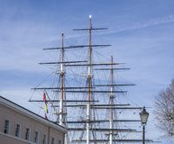 Greenwich, Cutty Sark, the sails against the blue sky. Royalty Free Stock Photo
