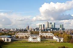 Greenwich e cais amarelo Fotografia de Stock