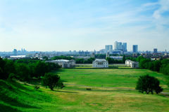 Greenwich hill. View from the Greenwich hill, London. Greenwich park and the Royal Naval College Stock Photo