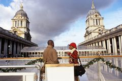 Greenwich Ice Rink, Old Naval College, London Stock Photos