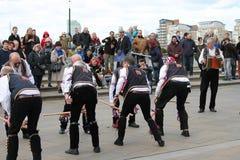 GREENWICH, LONDEN, HET UK - 13TH MAART: De mensendansers Engelse Pasen van Blackheathmorris Zondag 13 Maart, 2016 in Greenwich Lo Royalty-vrije Stock Fotografie
