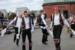 GREENWICH, LONDON, GROSSBRITANNIEN - 13. MÄRZ: Blackheath Morris Männer Tänzer Englisch Ostern am Sonntag, den 13. März 2016 in G Lizenzfreie Stockbilder