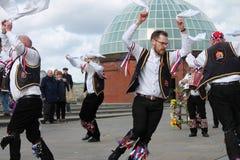 GREENWICH, LONDRES, REINO UNIDO - 13 DE MARÇO: Páscoa inglesa dos dançarinos dos homens de Blackheath Morris domingo 13 de março  Fotografia de Stock