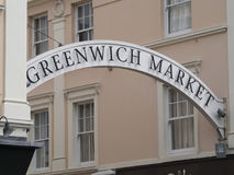 Greenwich Market entrance. The market at Greenwich village, London. Greenwich is an early-established district of south east London, England, centred 5.5 miles 8 Royalty Free Stock Photo