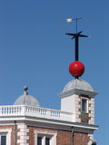 Greenwich Observatory England. Bright red Time Ball on top of the octagon room at Flamsteed House, Royal Observatory, Greenwich, London, England, UK royalty free stock photo