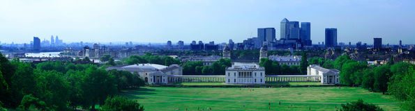 Greenwich panorama. View from the Greenwich Royal Observatory hill: the park, the Royal Naval College, and the River Thames Stock Photos