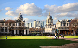 Greenwich park, Canary wharf on the background Stock Images