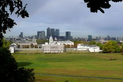 Greenwich Park and Canary Wharf in London, stock photo