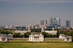 Greenwich-Park und Kanarienvogel-Kai Lizenzfreies Stockbild