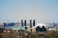 Greenwich Power Station, London. View from Greenwich Park of the Borough's Power Station with the O2 Dome to the rear Stock Image