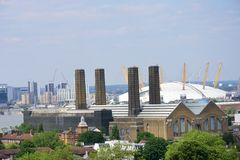 Greenwich power station and O2 Royalty Free Stock Image