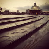 Greenwich after Rain. Greenwich Foot Tunnel with wet pavement and evening light Royalty Free Stock Image