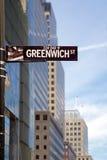Greenwich-Straßenschild Stockfotografie