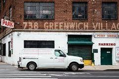 Greenwich Village Garage with plumbing truck parked Royalty Free Stock Photography