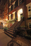 Greenwich Village townhouse by night, NY, USA Royalty Free Stock Photography