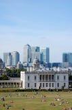 Greenwich y embarcadero amarillo Fotos de archivo libres de regalías