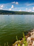 Greenwood Lake NY Summer. Scenic view of Greenwood lake on summer day with cloudscape stock photos