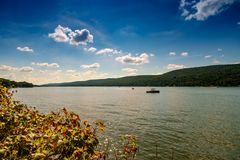 Greenwood Lake NY Summer. Scenic view of Greenwood lake on summer day with cloudscape royalty free stock photos