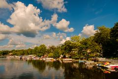Greenwood Lake NY Summer. Scenic view of Greenwood lake on summer day with cloudscape stock photo
