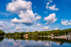 Greenwood Lake NY Summer. Scenic view of Greenwood lake on summer day with cloudscape royalty free stock images