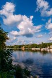 Greenwood Lake NY Summer. Scenic view of Greenwood lake on summer day with cloudscape royalty free stock image