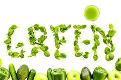 Greeny koktajli/lów składniki Sprawności fizycznej smoothie Ogórek, pieprz, jabłko, avocado, celeriac na kamiennego tła odgórnym  Obrazy Stock