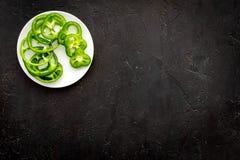 Greeny koktajli/lów składniki Sprawności fizycznej smoothie Pieprz na czarnej tło odgórnego widoku przestrzeni dla teksta Fotografia Royalty Free