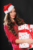 Greep van het de vrouwenportret van de Kerstmiskerstman de hoed geïsoleerde Royalty-vrije Stock Foto's