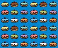 Donut. Vector drawing. Greet happy party jew hannukah fast cafe meal isolated on dark blue backdrop. Tileable bright color hand drawn round hanukiah fat sweet stock illustration