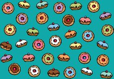Donut. Vector drawing. Greet happy party jew hannukah fast cafe meal isolated on dark teal backdrop. Tileable bright color hand drawn round hanukiah fat sweet royalty free illustration
