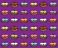 Donut. Vector drawing. Greet happy party jew hannukah fast cafe meal isolated on dsrk purple backdrop. Tileable bright color hand drawn round hanukiah fat sweet stock illustration