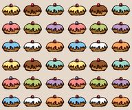 Donut. Vector drawing. Greet happy party jew hannukah fast cafe meal isolated on light coffee backdrop. Tileable bright color hand drawn round hanukiah fat sweet royalty free illustration