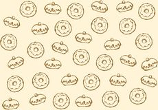 Donut. Vector drawing. Greet happy party jew hannukah fast cafe meal isolated on light ivory backdrop. Tileable bright color hand drawn round hanukiah fat sweet vector illustration