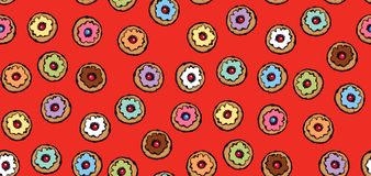 Donut. Vector drawing. Greet happy party jew hannukah fast cafe meal isolated on vibrant red backdrop. Tileable bright color hand drawn round hanukiah fat sweet stock illustration