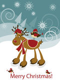 Greeteng card with funny Christmas deer and bird Royalty Free Stock Images