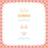你好greetiing与比基尼泳装的夏天 免版税库存图片