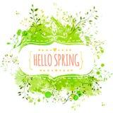 与文本你好春天的白色装饰框架 与叶子的绿色油漆飞溅背景 横幅的新传染媒介设计, greetin 免版税图库摄影