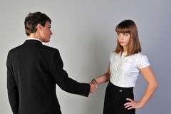 Greeting. Man and women hand shake Royalty Free Stock Photography