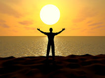 Greeting. Silhouette of the man stand on the seashore with hands up greeting gesture Stock Image