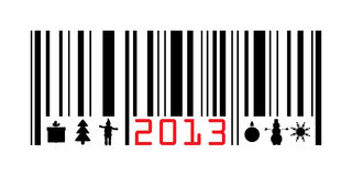 Greeting with 2013 year barcode. Vector illustration Royalty Free Stock Photos