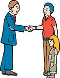 Greeting. Man greets father/daughter with a handshake stock illustration